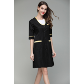 2017 summer new slim fit black nurse uniform beauty spa skin carewoman working uniform women short sleeve V neck coat