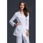 New design Autumn Women anti-wrinkle long sleeve nurse uniform dental clinic doctor's outcoat  white color stand collar