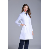 New women's Stand Collar anti-wrinkle long sleeve nurse uniform dental clinic doctor's outcoat slim fit white color free ship