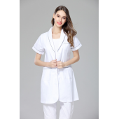 Women's anti-wrinkle summer short sleeve nurse uniform dental clinic doctor's outcoat medical shop clerk white color free ship