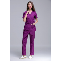 2017 New Arrival Women's Hospital Surgical Or Medical Uniform Scrub Clothes Sets Short Sleeve with Adjusted Best At Waist Side