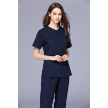 2017 New Women's Small V Neck Short Sleeve Side Opening Nurse Uniform Dental Clinic Nursing Working Wear Free Ship