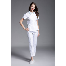 2018 New Women's Summer Short Sleeve Nurse Uniform Dental Clinic Medical Shop New Design Hospital Nurse Uniform Set Clothes