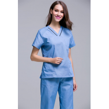 Jaleco Rushed 2017 New Arrival Women's Short Sleeve Shoulder Snap Button Medical Scrub Uniforms Set Beauty Spa Working Clothes