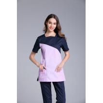 Women's Short Sleeve Shoulder Openable U Shape Neck Surgical Or Medical Scrub Clothes Sets Uniforms Two Color Connection Uniform