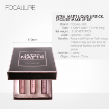 FOCALURE 3Pcs Long-lasting Lip Colors Makeup Waterproof Tint Lip Gloss Red Velvet Ultra Nude Matte Lipstick Colourful