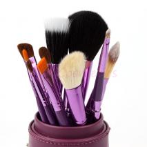 New 12Pcs Professional Makeup Brush Set 12 pcs Kit w/ Leather Cup Holder Case kit