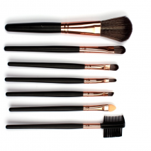 Sale! High Quality 7 Makeup Brush Set Kit in Sleek Golden Leather Bag Portable Make up Brushes